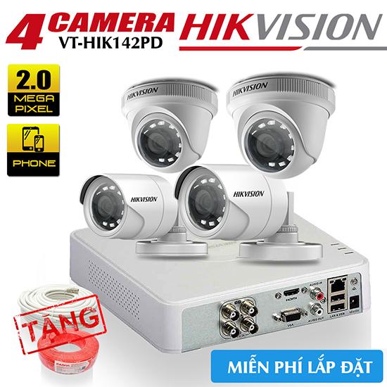 Bộ 4 Camera HDTVI Hikvision HD1080P Gói VT-HIK142PD