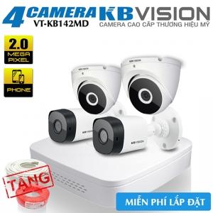 Trọn Bộ 4 Camera 2MP KBvision Vỏ Kim Loại Gói VT-KB142MD