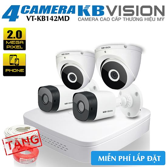 Bộ 4 Camera 2MP KBvision Vỏ Kim Loại Gói VT-KB142MD