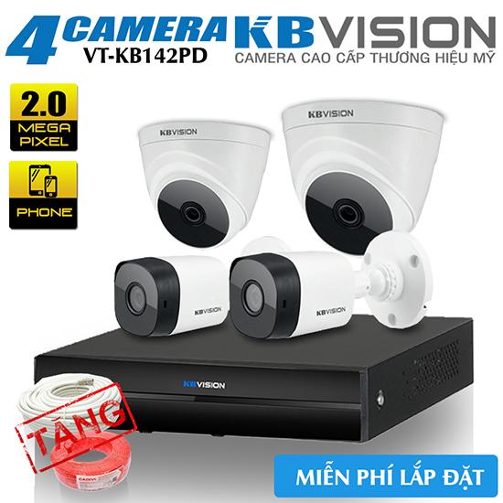 Bộ 4 Camera KBvision 2.0 Megapixel Gói Lắp Đặt VT-KB142PD