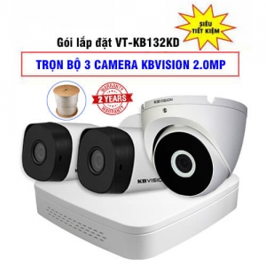 Trọn Bộ 3 Camera 2MP KBvision Vỏ Kim Loại Gói VT-KB132KD