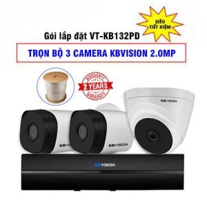 Trọn Bộ 3 Camera KBvision 2.0 Megapixel Gói Lắp Đặt VT-KB132PD