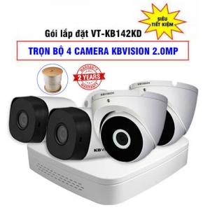 Trọn Bộ 4 Camera 2MP KBvision Vỏ Kim Loại Gói VT-KB142KD