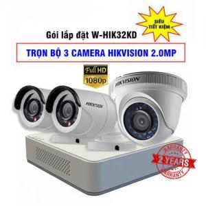 Trọn Bộ 3 Camera Hikvision HDTVI 2.0MP Gói Lắp Đặt W-HIK32KD