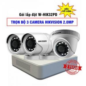 Lắp Đặt Trọn Bộ 3 Camera HD-TVI Hikvision 2MP Gói W-HIK32PD