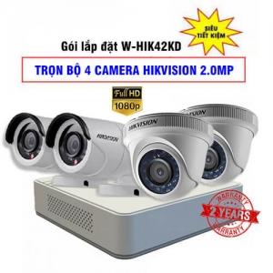 Trọn Bộ 4 Camera HDTVI Hikvision 2.0MP Gói Lắp Đặt W-HIK42KD