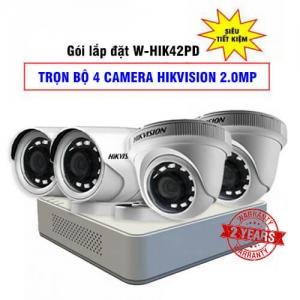 Trọn Bộ 4 Camera HDTVI Hikvision HD1080P Gói Lắp Đặt W-HIK42PD