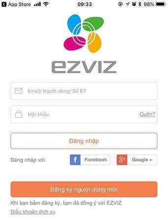 Cài đặt xem camera EZVIZ trên điện thoại Bước 1