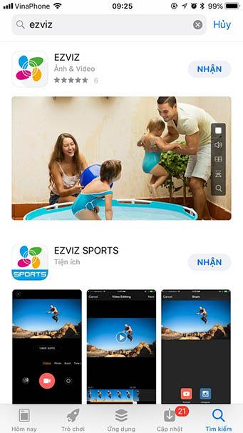 Ứng dụng xem camera EZVIZ trên điện thoại
