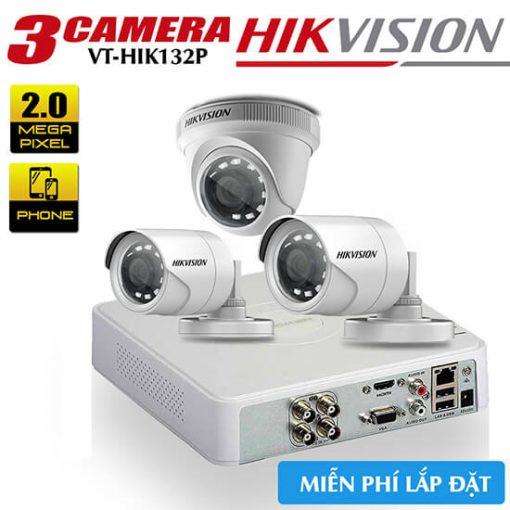 Trọn Bộ 3 Camera HD-TVI Hikvision 2.0MP Gói Lắp Đặt VT-HIK132P
