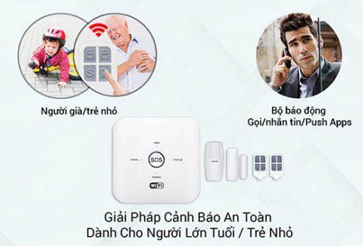 Bộ Báo Động Chống Trộm Qua WIFI + Sim GSM SmartZ GW03