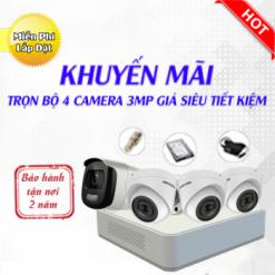 Trọn Bộ 4 Camera Hikvision 3MP Có Màu 24/7 - Sale Sập Sàn