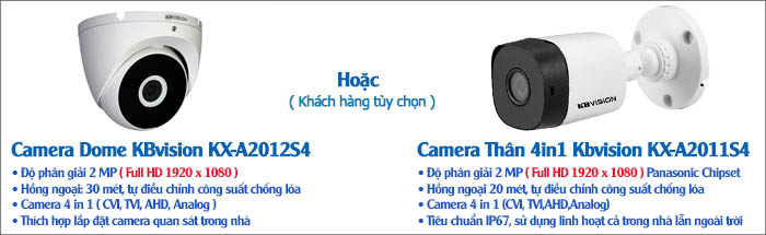 Camera Bộ 3 Camera 2MP KBvision Gói Lắp Đặt VT-KB132M
