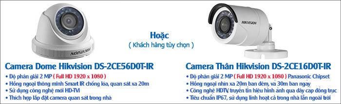 Camera Bộ 3 Camera HDTVI Hikvision 2.0MP Gói Lắp Đặt VT-HIK132M Cho Nhà Ở
