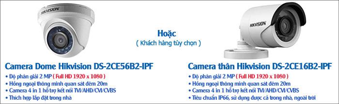 Camera - Bộ 3 Camera HD-TVI Hikvision Full HD 1080P