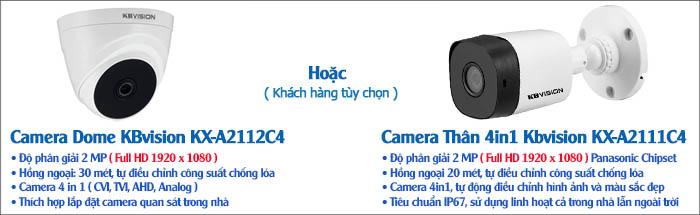 Camera - Bộ 4 Camera 2MP KBvision Gói Lắp Đặt VT-KB142P Cho Nhà