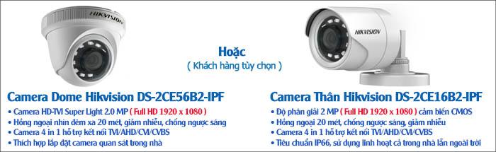 Camera - Bộ 4 Camera HDTVI Hikvision 2.0MP Gói Lắp Đặt VT-HIK142P