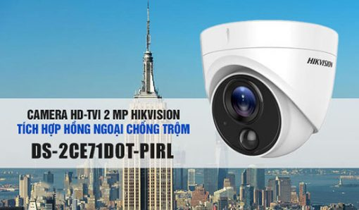Camera HDTVI Hikvision DS-2CE71D0T-PIRL Dạng Dome Thiết Kế Đẹp