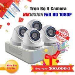 Trọn Bộ 4 Camera Dome Hikvision 2MP Cho Gia Đình, Cửa Hàng - Sale