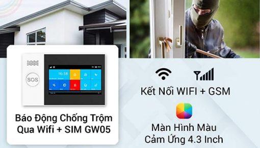 Màn Hình Báo Động Chống Trộm Cao Cấp Qua WIFI/SIM SmartZ GW05