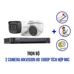 Trọn Bộ 2 Camera Hikvision 2MP Có Mic Giá Rẻ, Siêu Khuyến Mãi