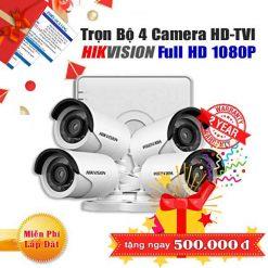 Trọn Bộ 4 Camera thân HD-TVI Hikvision 2.0MP Cho Gia Đình - BIG SALE