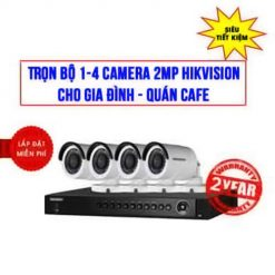 Trọn Bộ 1-4 Camera 2.0MP Hikvision Cho Gia Đình - Quán cafe - Big Sale
