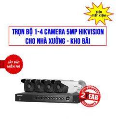 Trọn bộ 1-4 camera 5MP Hikvision cho kho xưởng, Khảo sát tư vấn Free