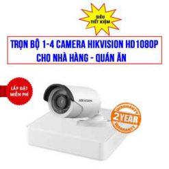 Trọn Bộ 1-4 Camera Hikvision 2MP HD1080P Cho Nhà hàng - Quán Ăn