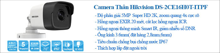 Camera Thân Trụ Hồng Ngoại 5M Hikvision DS-2CE16H0T-ITPF
