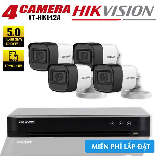 Trọn Bộ 4 Camera HDTVI Hikvision 5.0MP Gói Lắp Đặt VT-HIK142A