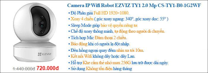 Camera IP Wifi Robot EZVIZ TY1 2.0 Megapixel CS-TY1-B0-1G2WF