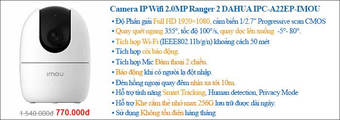 Camera IP Wifi 2.0 Megapixel Ranger 2 DAHUA IPC-A22EP-IMOU