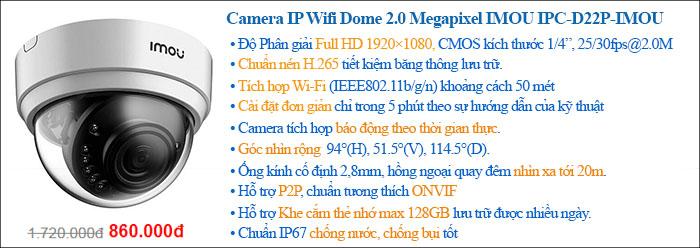 Camera IP Wifi Dome 2.0 Megapixel IMOU IPC-D22P-IMOU