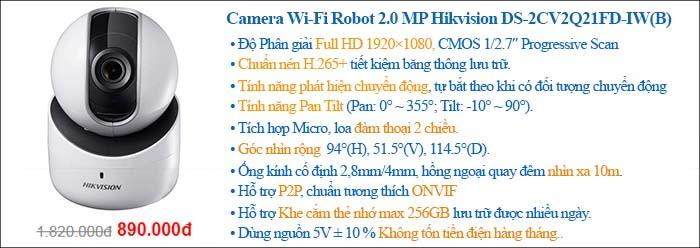 Camera IP Robot 2.0 Megapixel Hikvision DS-2CV2Q21FD-IW(B)
