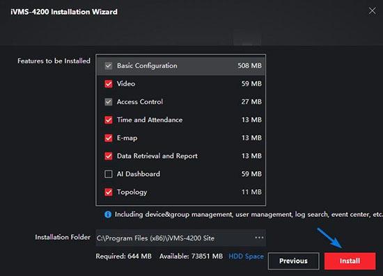 Tuỳ chọn tính năng phần mềm iVMS-4200 trên máy tính