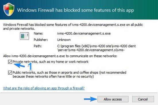 Cho phép iVMS-4200.topology.s.exe kết nối firewall