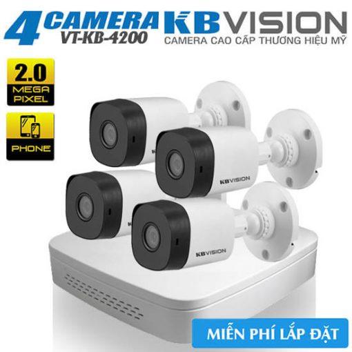 Bộ 4 CAMERA KBVISION CAMERA 2.0MP H265+ , Chip Panasonic